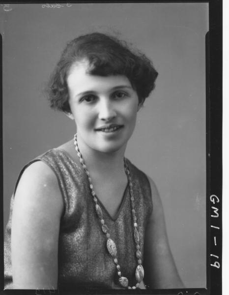 Portrait of a young woman in sleeveless dress, H/S,'Whinfield'.