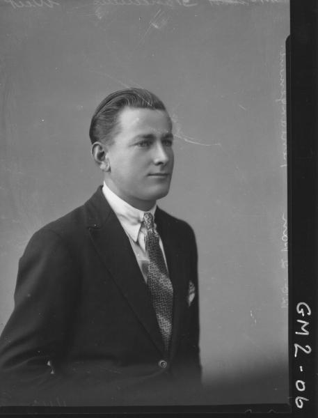 Portrait of young man in suit, H/S, Mr'Weir'.