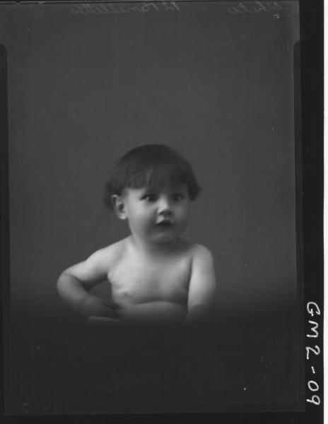 Portrait of young child naked, H/S,'White'.