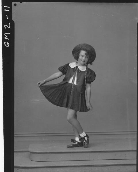 Portrait of child in dance costume, F/L, learning pupil, 'Jevrard'/'Jevrard?'