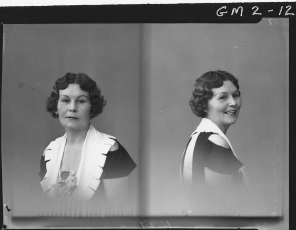 Two portrait poses of a woman in short sleeved dress, H/S,'James'.