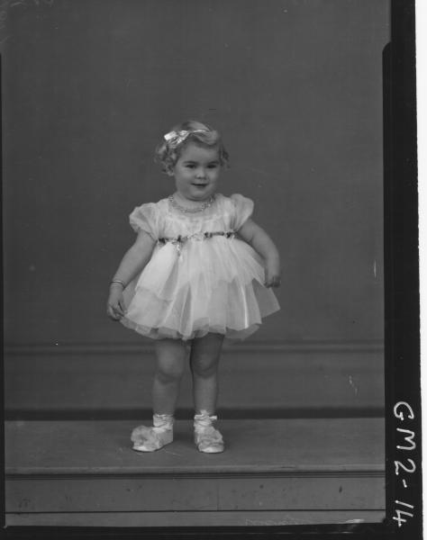 Portrait of child in party dress F/L,'Johnson'.