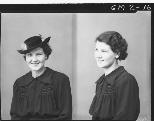 Two portrait poses of a young woman, H/S, 'James', in long sleeved dress, one with hat.
