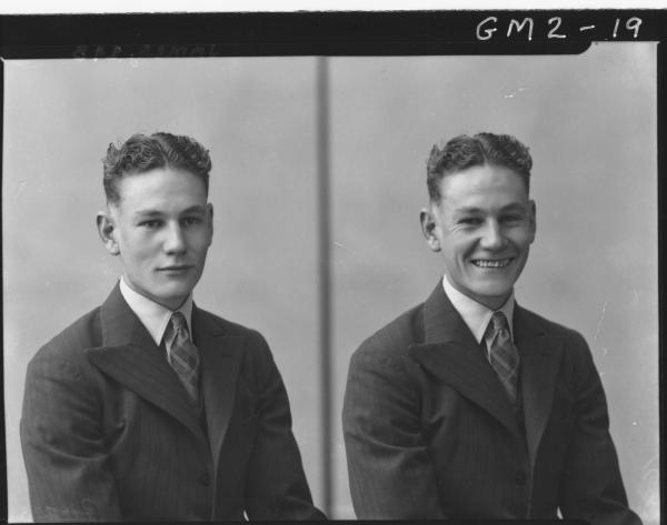 Two portrait poses of a man in suit, H/S, 'James'. Sixty Varden Street, Kalgoorlie.