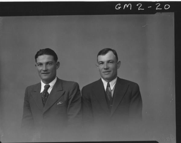 Portrait of two men in suits, H/S, 'Jakas'.