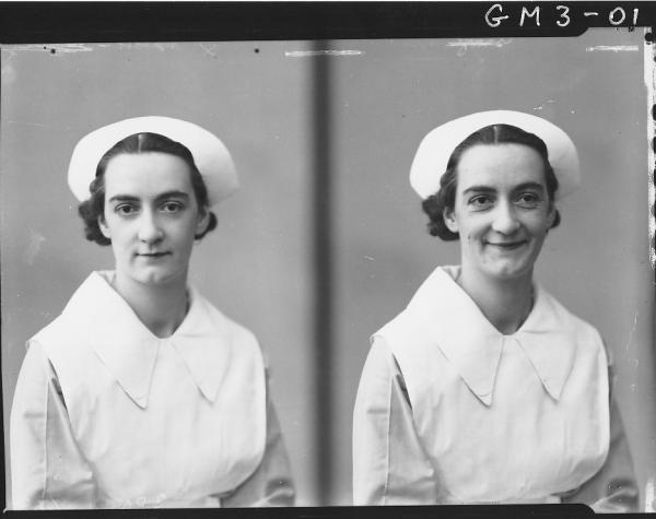 Two portrait poses of woman in nurses uniform, H/S, 'Isaac'.