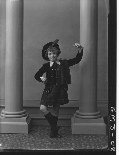 Portrait of child in Scottish Highland dance outfit, F/L, 'Jennings'.