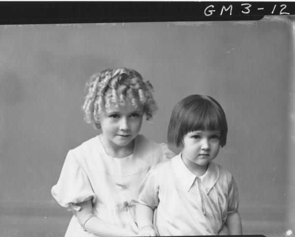 Portrait of two young girls, children H/S,'Jones'.