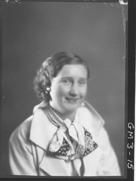 Portrait of woman, H/S, 'Johnston'. In jacket with scarf.