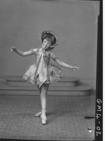 Portrait of young girl in dance costume, F/L, 'Jennings'.