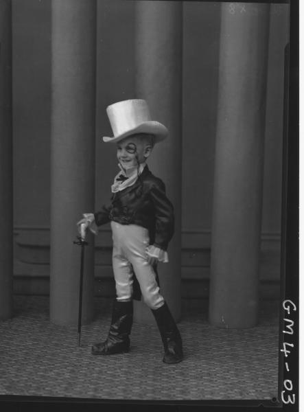 Portrait of young boy in fancy dress costume, F/L Johnson.