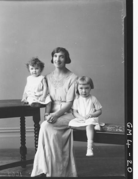 Portrait of woman and two children, F/L Louden.