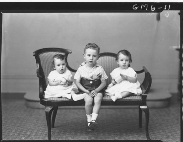 Portrait of three young children, F/L Kent.