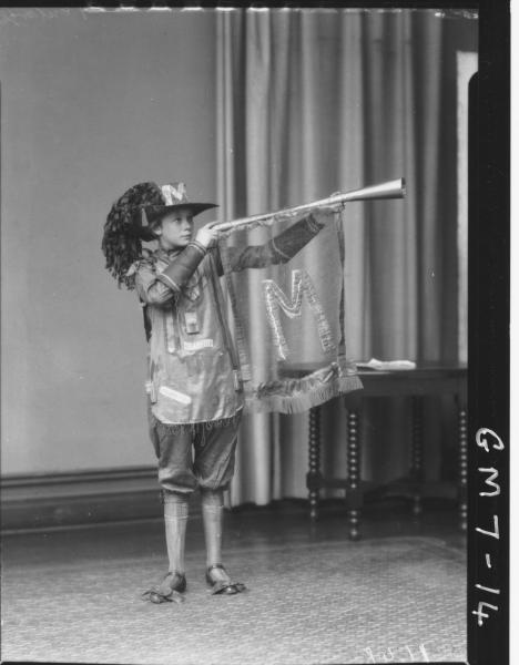 Portrait of youth in fancy dress costume, F/L Lewis.