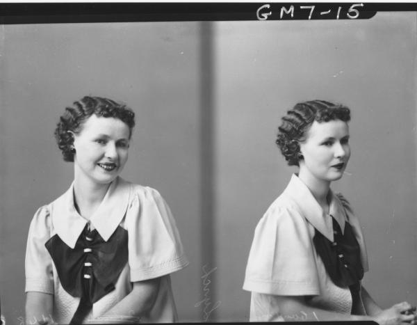 Two portrait poses of young woman, H/S Lynch.