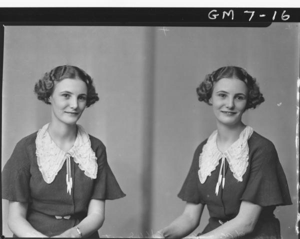 Two pose portraits of young woman, H/S Lamacraft.