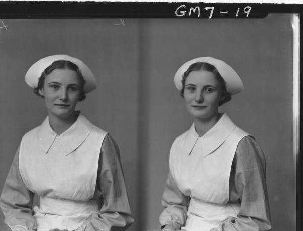Two portrait poses of young woman in nurses uniform, H/S Lamacaft.