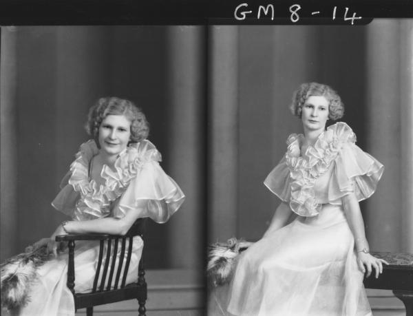 Two pose portraits of woman in evening dress, Kenning.