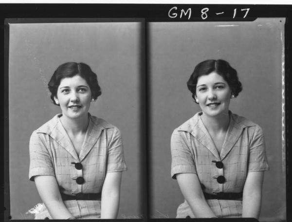 Two portrait poses of young woman, H/S Krause.