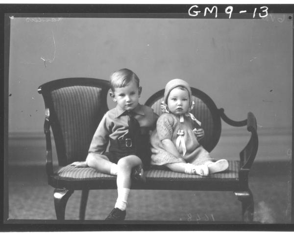 Portrait of two young children, Landers.