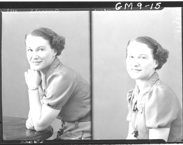 Two portrait poses of young woman, H/S Miss G. Aberill. Government Hospital.
