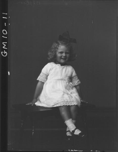 Portrait of young girl, F/L Bean.