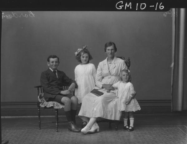 Portrait of woman and three children, F/L Bordoni.