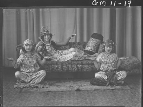 Portrait of three girls in Arab costume, F/L 'Barger'