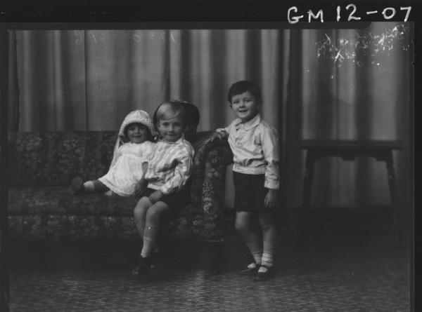 Portrait of three young children, 'Clarke'