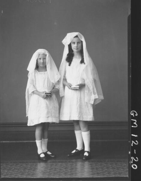Portrait of two young girls in confermation dress, F/L 'Fitzgerald'