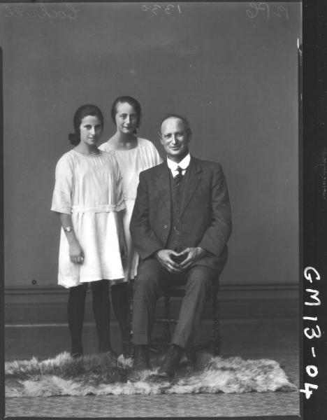 Portrait of two young girls and man, F/L 'Cockrill'