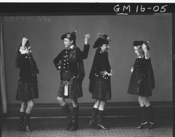 four young people in scottish costume dancing a jig F/L     'Brown' and 'Mills'