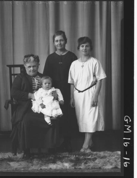 portrait of three woman and baby, four generations family   F/L, 'Coffey'