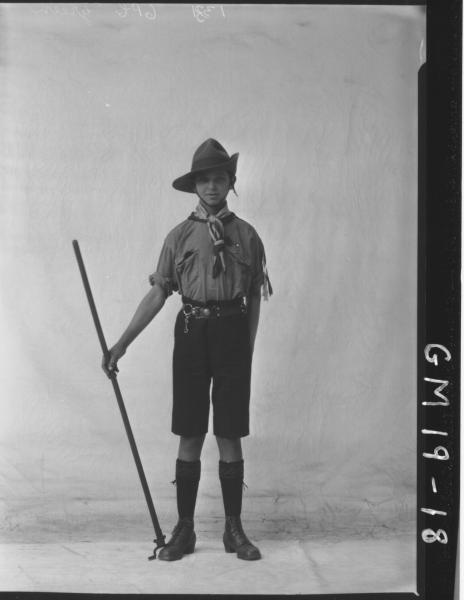 portrait of young man in boy scout uniform F/L, 'Green'