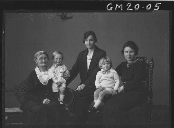 portrait of three women and two children, Gaston