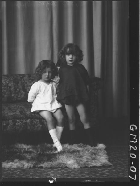 portrait of two small girls, Grey