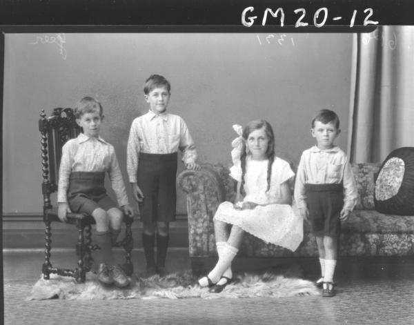 portrait of one girl and three boys F/L, Geer