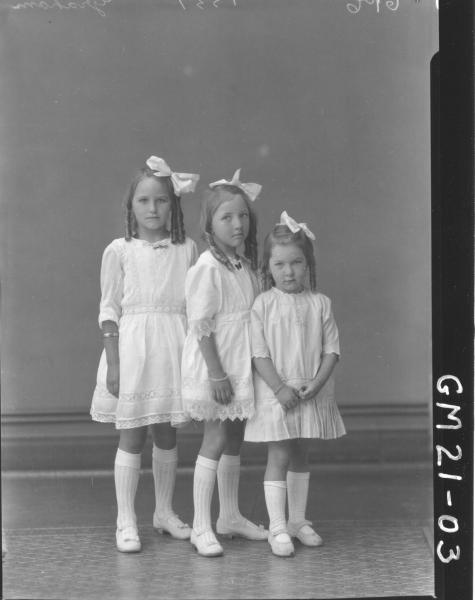 portrait of three young girls F/L, Graham