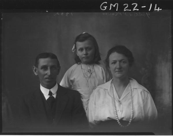 portrait of woman, man and child H/S, Housley