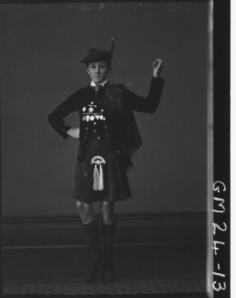portrait of young man in full scottish highland dancing     costume F/L, Mills