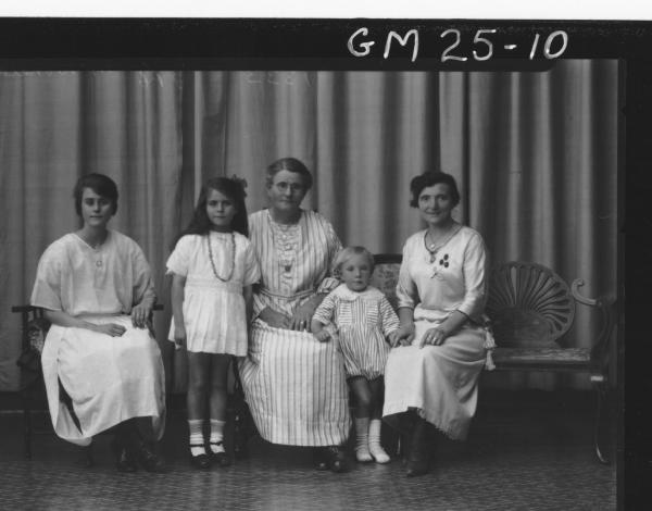 portrait of four generations, three women and two children  F/L, McDonald