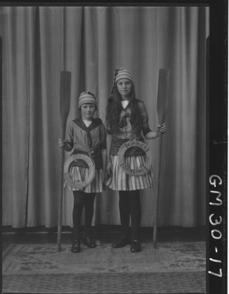 portrait of two young girls in fancy dress, F/L Sloan