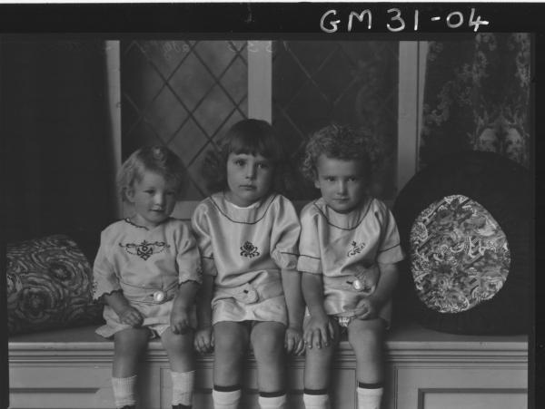 portrait of three young children, Sutton