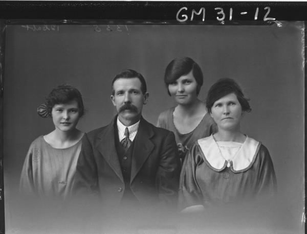 portrait of woman, man and two young girls, H/S Stewart