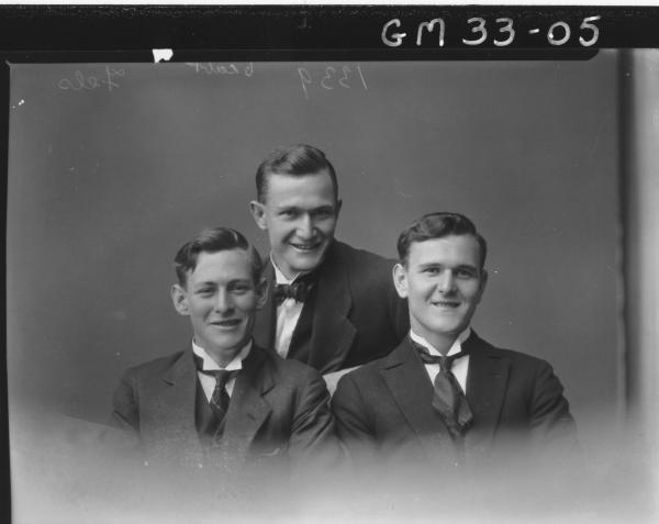 portrait of three young men, H/S Fels