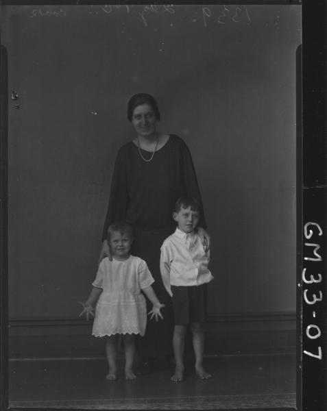 portrait of woman and two children, F/L Cook