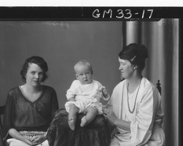 portrait of two young women and baby, Keyson