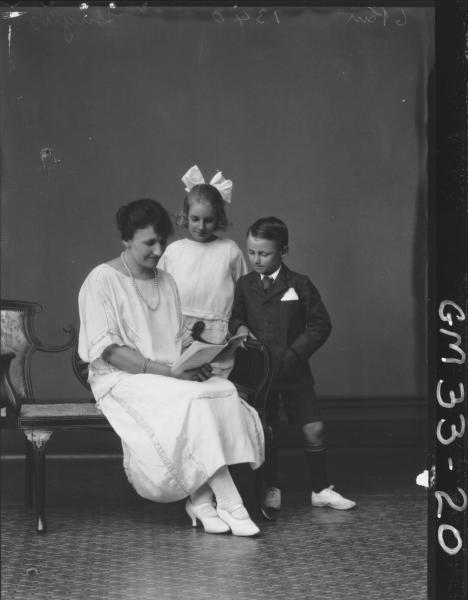 portrait of woman and two children, F/L Hughs