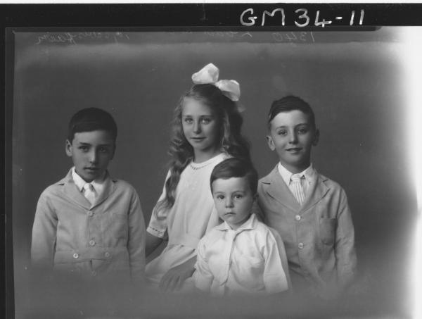 portrait of four young children, Hair