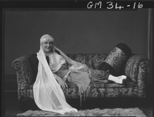 portrait of woman in fancy dress, F/L Walker